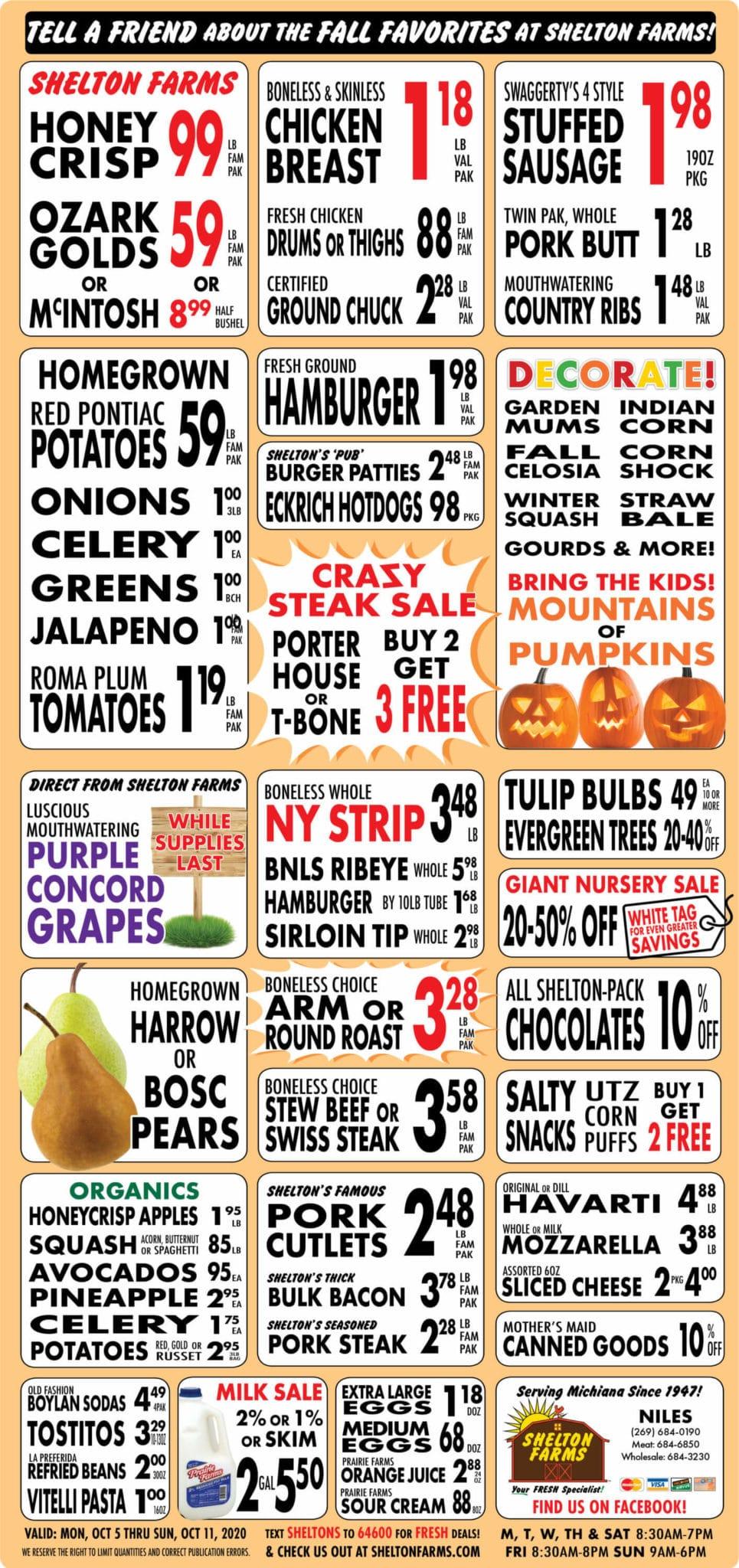 Shelton Farms Weekly Ad 10/05/2020 - 10/11/2020